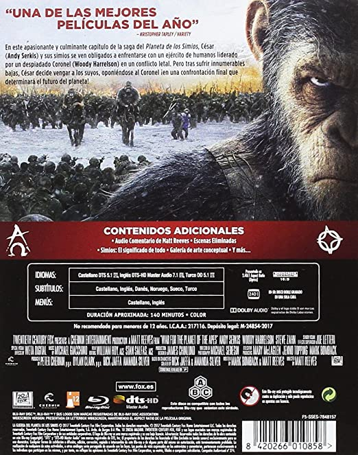 Planet of the Apes 3 War for the Planet of the Apes, Spain Import, see  details for languages: Amazon.co.uk: Andy Serkis, Woody Harrelson, Steve  Zahn, Matt Reeves, Mark Bomback, Peter Chernin: DVD