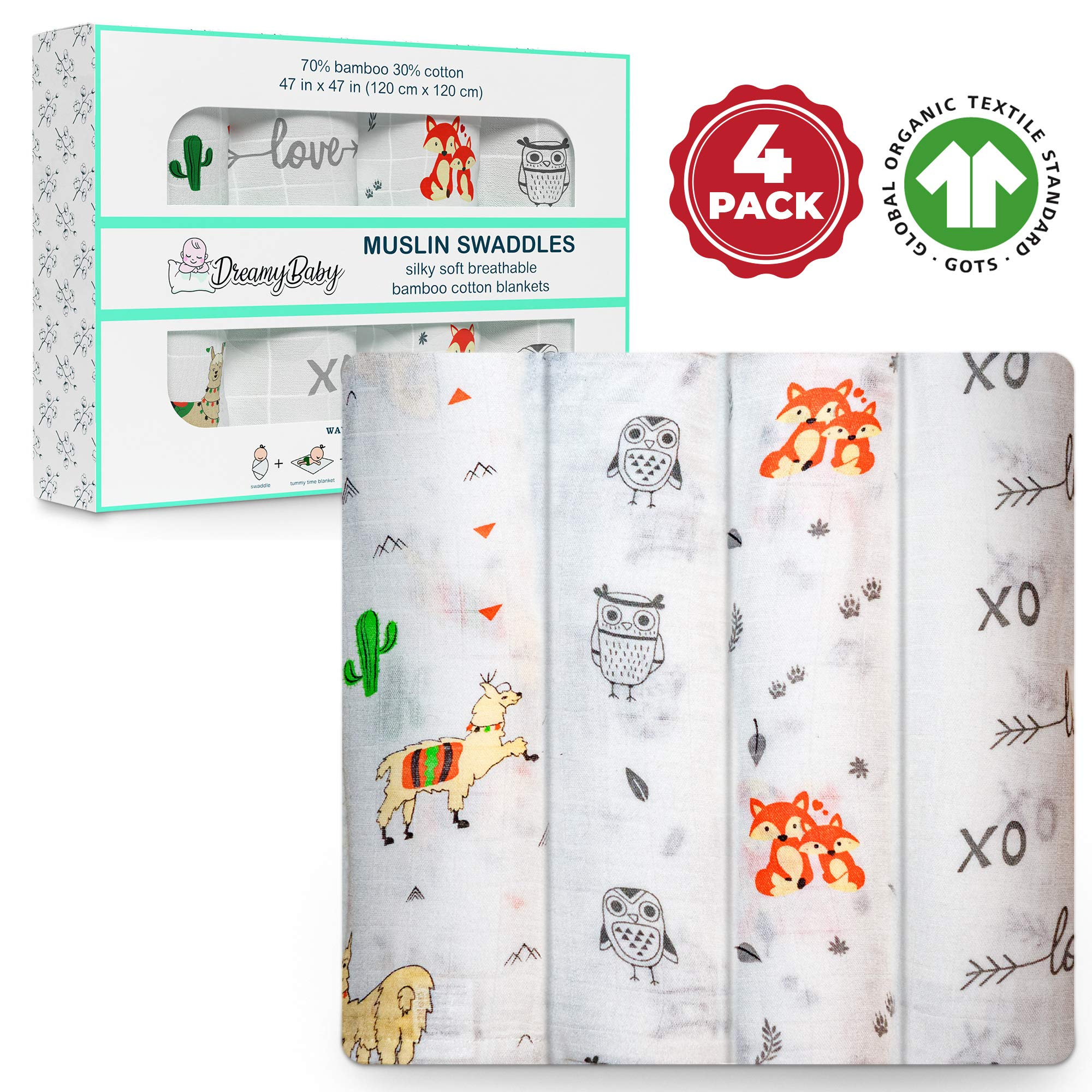 Muslin Swaddle Blankets, Baby Swaddle Wrap for Boys and Girls, Organic Cotton GOTS Certified Bamboo Blanket, XL Swaddle 47x47, Receiving Blankets, Fox Swaddle, Owl, Xo Love, Cactus, Baby Shower Gift