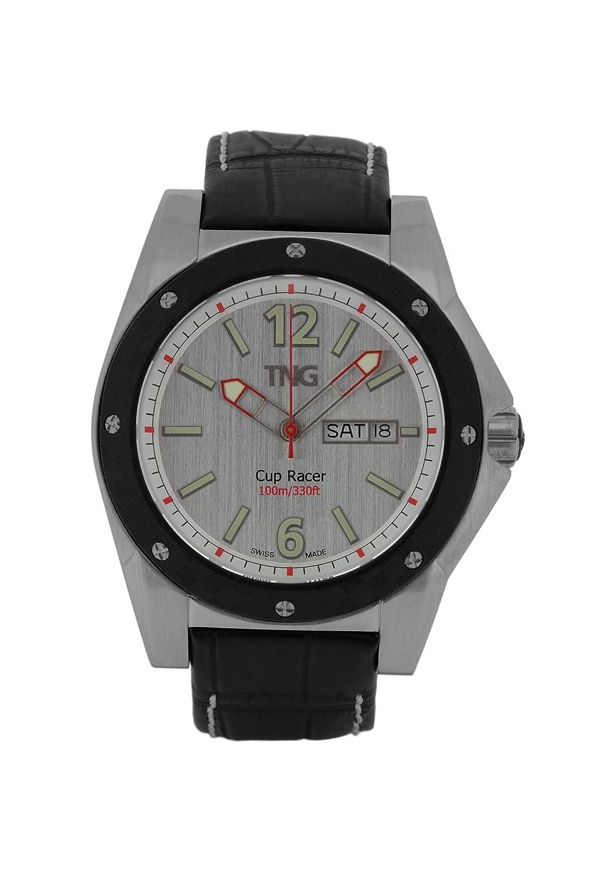 TNG Herren-Armbanduhr Analog Leder Schwarz TG667.30571.01PV