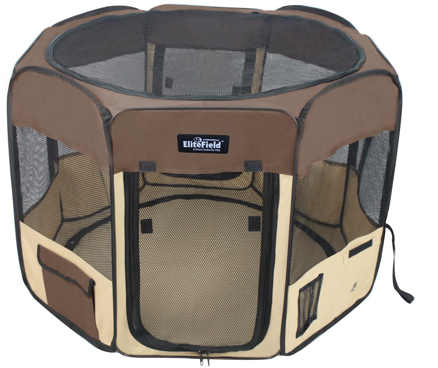 EliteField 2-Door Soft Pet Playpen, Exercise Pen, Multiple Sizes and Colors Available for Dogs, Cats and Other Pets (62'' x 62'' x 30''H, Brown+Beige)