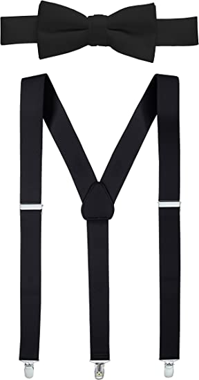 Black 4-Clips Suspender and Bow Tie Set for Adults Men Women Teenagers USA