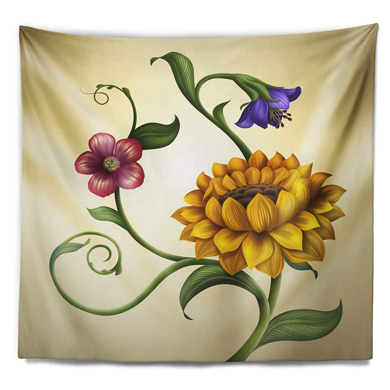 Designart TAP15475-39-32 Flowers and Leaves Illustration Floral Blanket D/écor Art for Home and Office Wall Tapestry 39 x 32 Medium