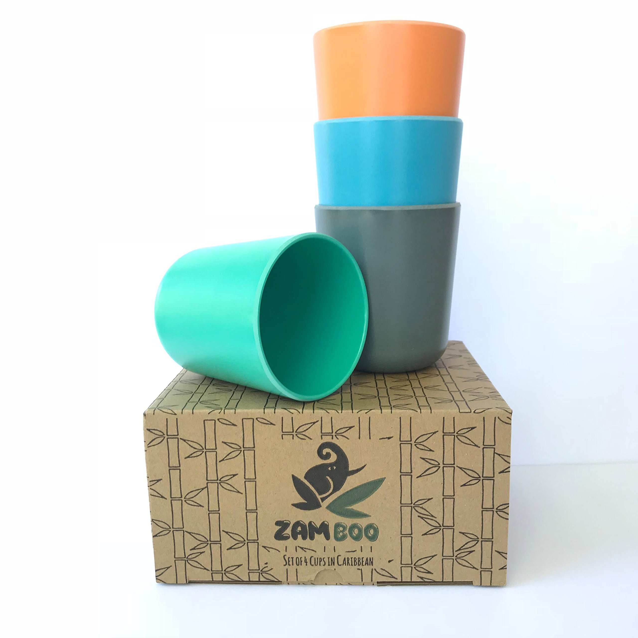 Zamboo Small Cups for Kids - Made from Eco Friendly Bamboo Fiber - Biodegradable Drinkware for Children, Toddlers, and Babies - Set of 4 Cup for Girl or Boy - Blue Green Orange Gray - Dishwasher Safe