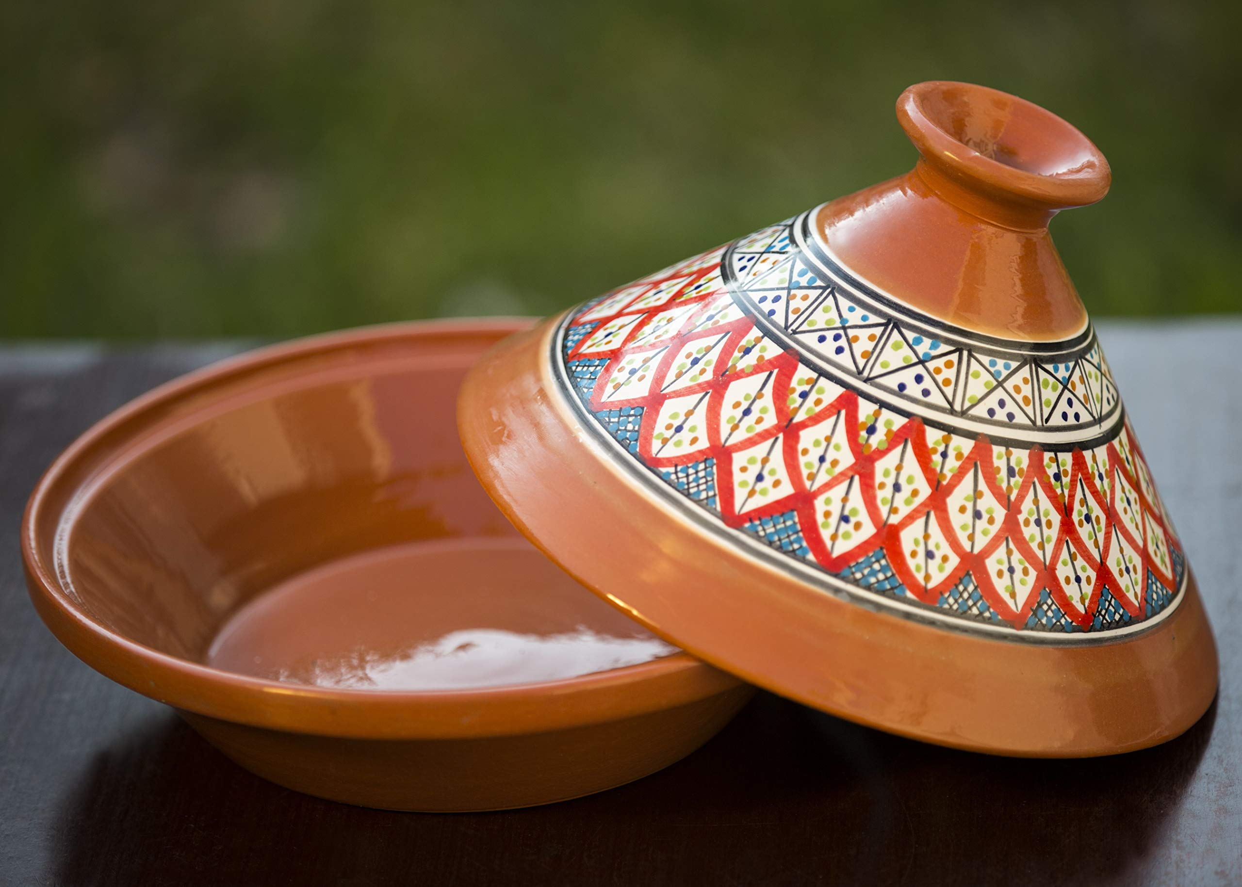 Handmade, Hand-painted Ceramic Lead-free Tagine ... (Large, Bohemian Red) by KAMSAH