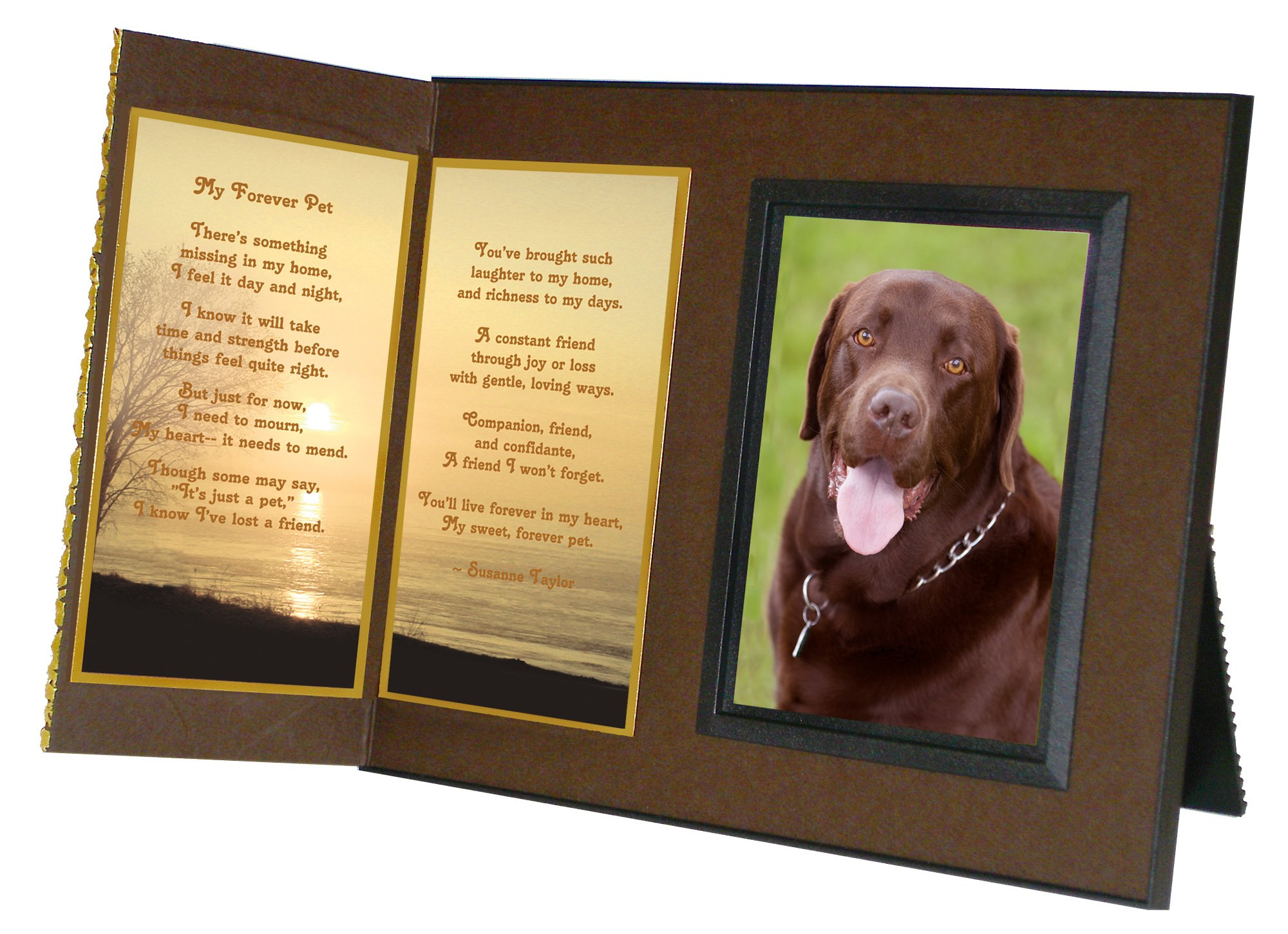 Pet Lover Remembrance Gift, ''My Forever Pet'' Poem, Memorial Pet Loss Picture Frame Keepsake and Sympathy Gift Package, Rich Dark Brown with Foil Accent