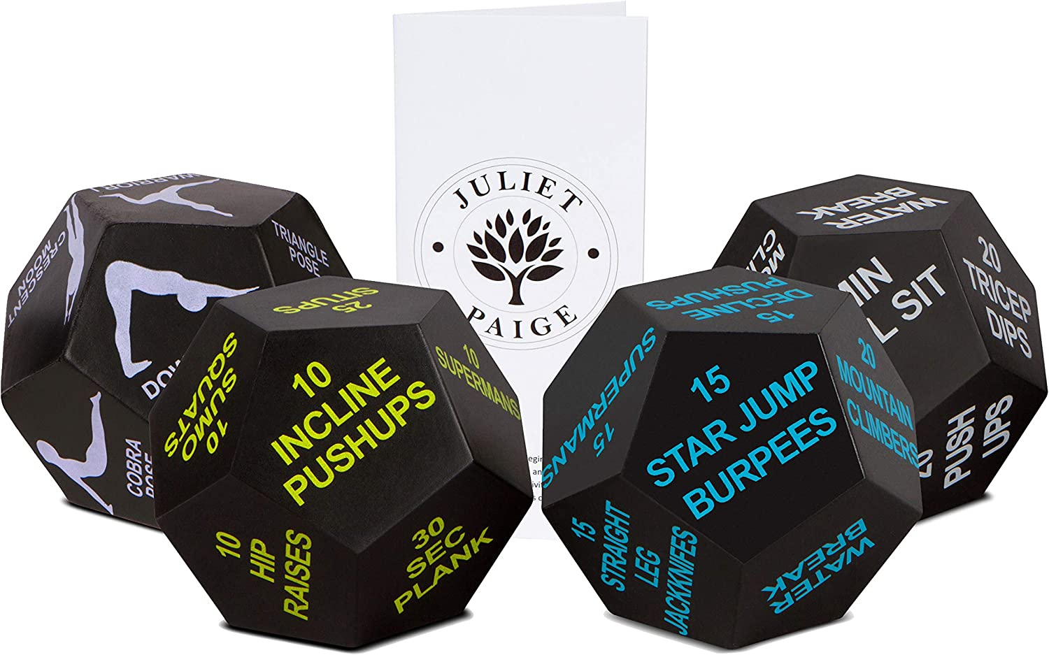 Exercise Dice for Home Workouts, Fitness, Yoga, and Sports Plus Booklet with Exercise Illustrations (4 Dice Bundle)