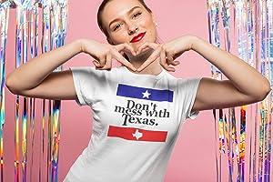Don't Mess With Texas | Texas pride | texas women's tshirt | Texas shirts | Texas home shirt | Red White and Blue | Texas Flag Shirt CLASSIC