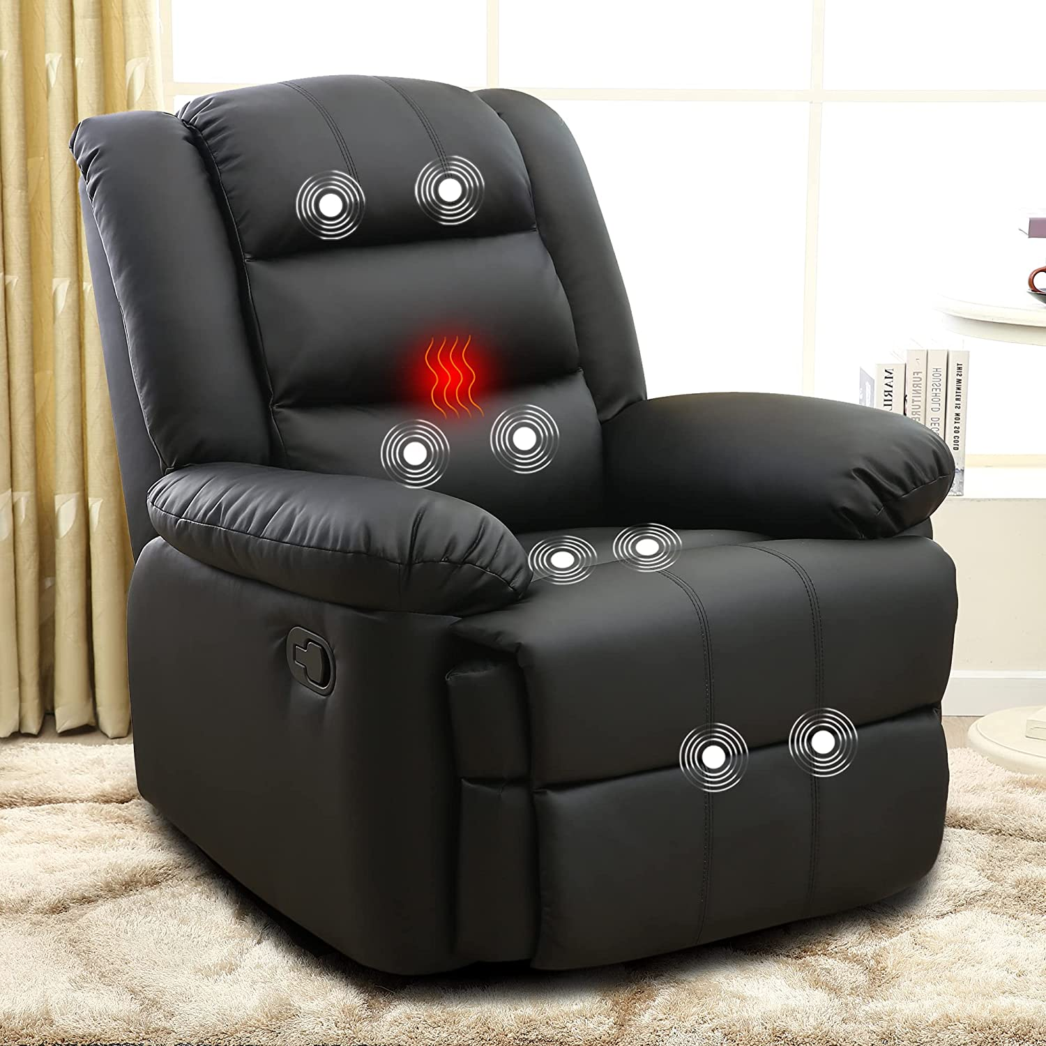 XRHOM Recliner Chair Reading Massage Chair Heated Pu Leather Ergonomic Reclining Chair Living Room Chairs Single Power Sofa Recliner Adjustable Modern Home Theater Seating Padded Seat Backrest,Black