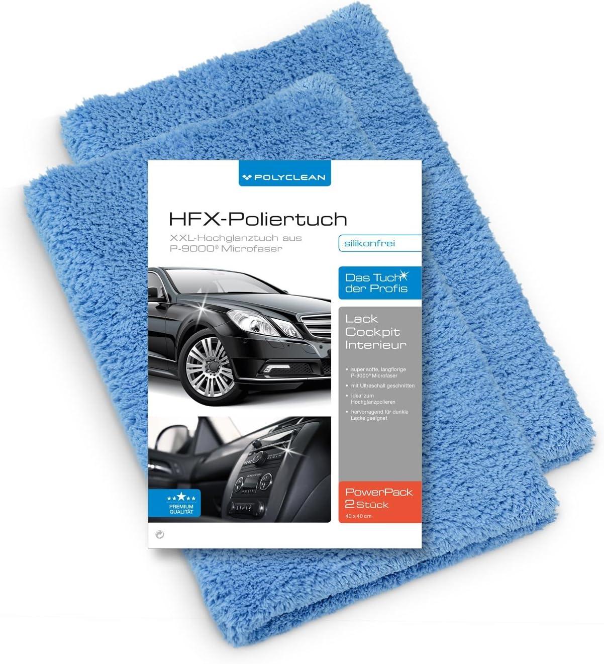 Polyclean 2x Auto Mikrofasertuch Saugstarkes Poliertuch Für Eine Lackschonende Autopflege Randloses Und Sanftes Trockentuch 40 X 40 Cm Blau 2 Stück Auto