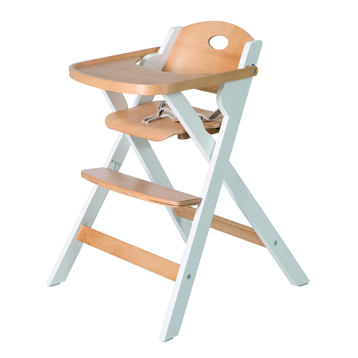 Space Saving Folding Highchair for Baby and Toddler Chair in Natural Wood and White Folding Highchair Stole