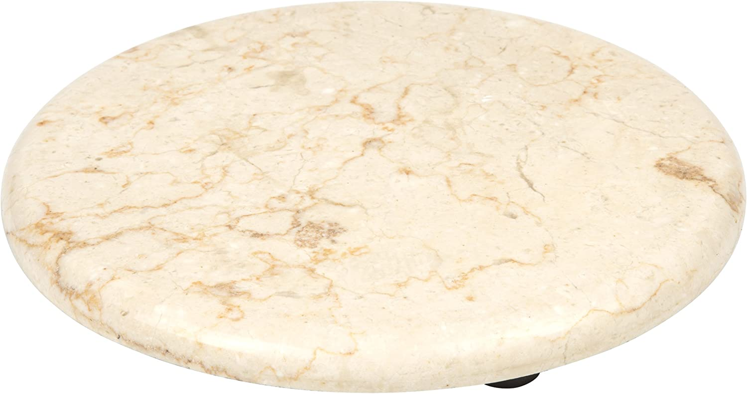 "Creative Home Genuine Champagne Marble 8"" Round Trivet, Cheese Serving Board"