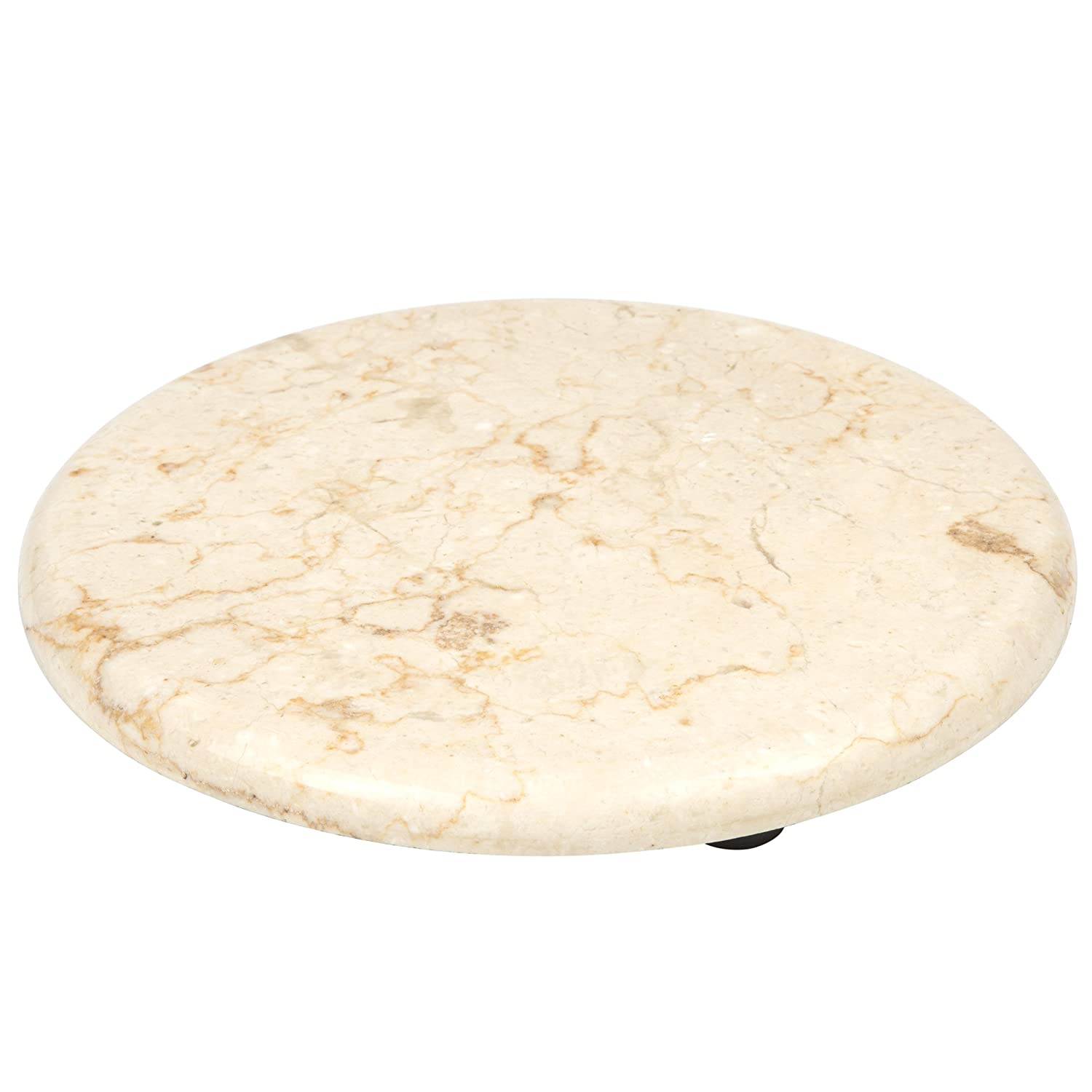 2 Creative Home Set of 2 pcs Genuine Champagne Marble 8 Round Trivet Cheese Serving Board
