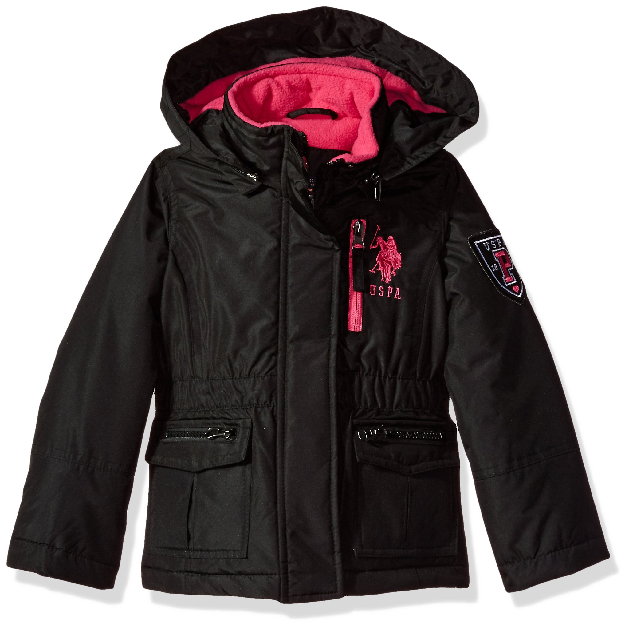 US Polo Association Little Girls' Outerwear Jacket (More Styles Available), Parka-UA88-Black, 4
