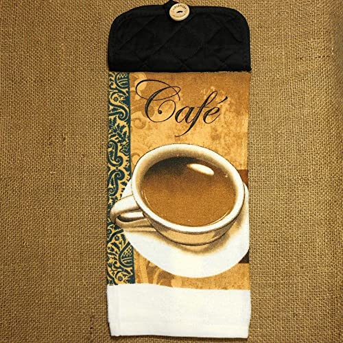 cafe hanging dish towel coffee themed kitchen decor - Coffee Themed Kitchen Decor