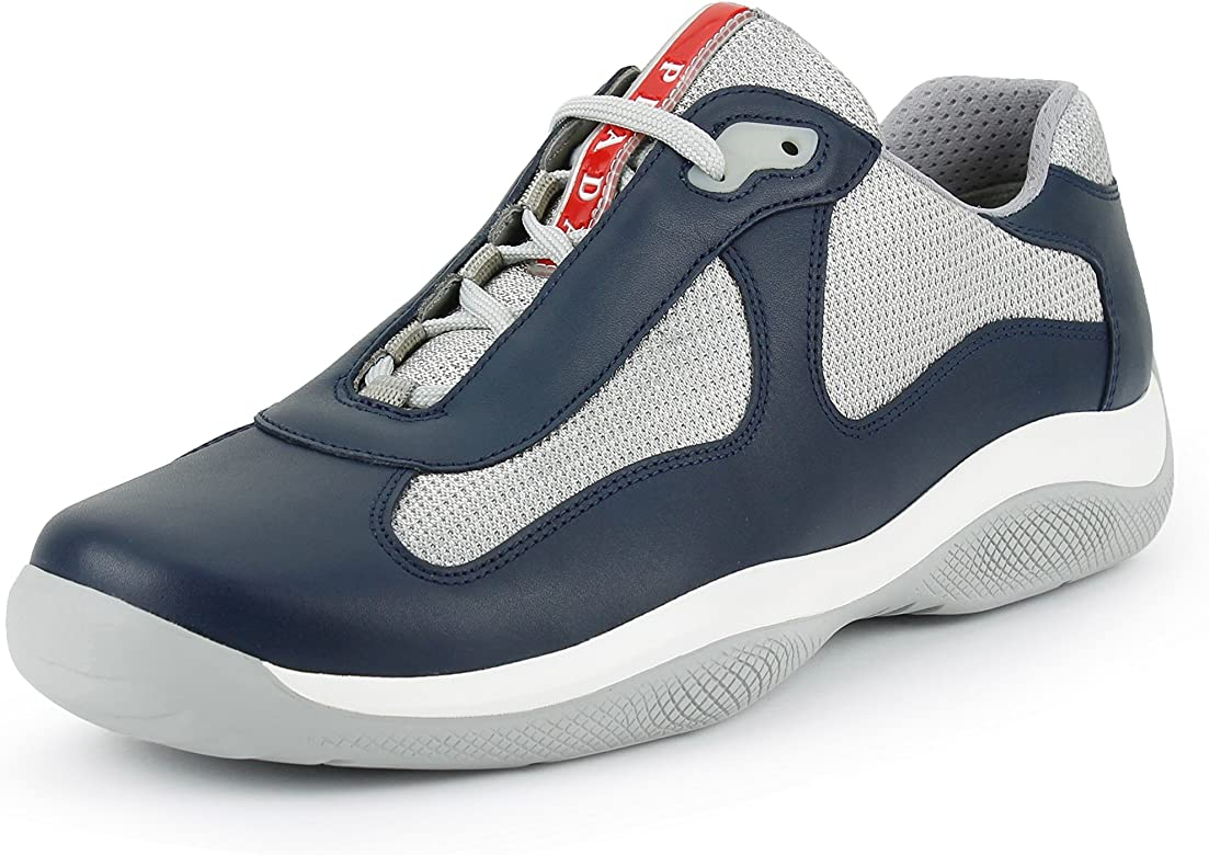 dc7a79dbd0025 Prada Men's 'America's Cup' Leather with Mesh Sneaker, Blue/Silver (8.5