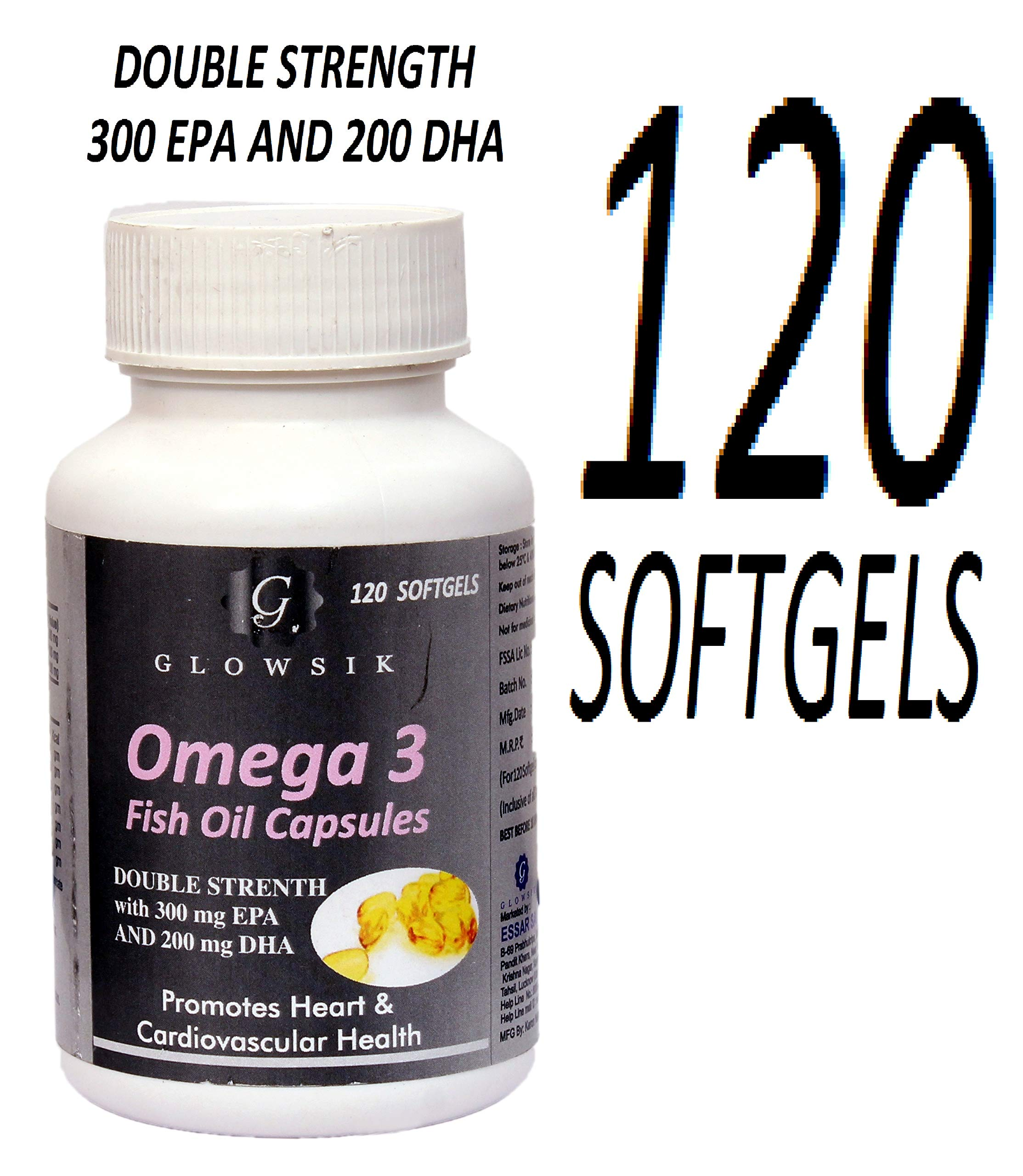 GLOWSIK FISH OIL OMEGA 3 DOUBLE STRENGTH CAPSULES 1000mg with 300 mg EPA AND 200mgDHA - 120 CAPSULES … (FISH OIL) product image