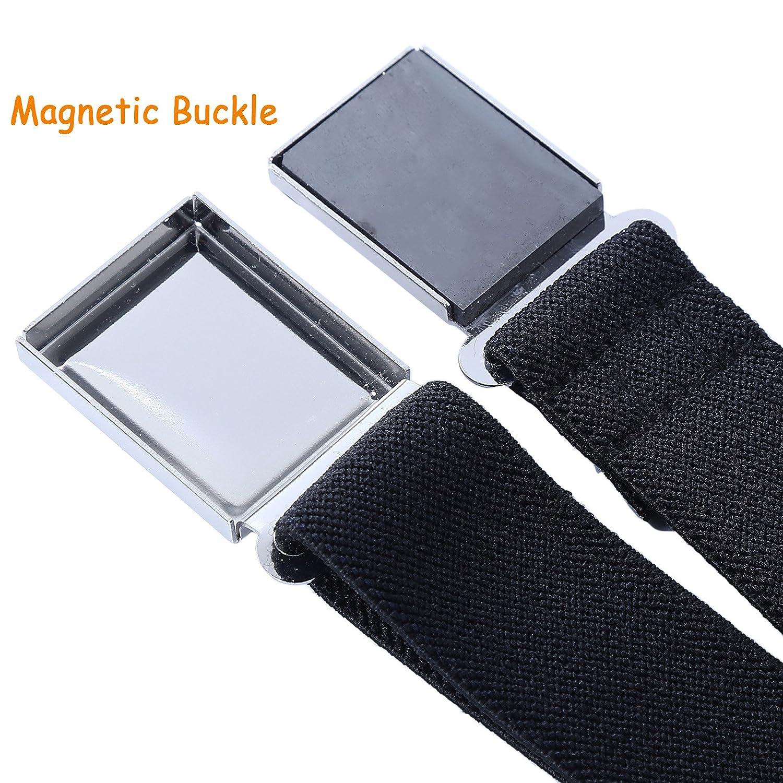 Red//White//Black Adjustable Elastic Child Belts for Girls 3 Pieces Boy Kids Magnetic Buckle Belt