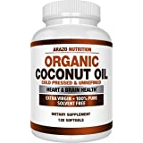 Organic Coconut Oil 2000mg - 100% Extra Virgin Cold Pressed for Weight Support, Skin, Hair, Nails - 120 Softgel Capsules…