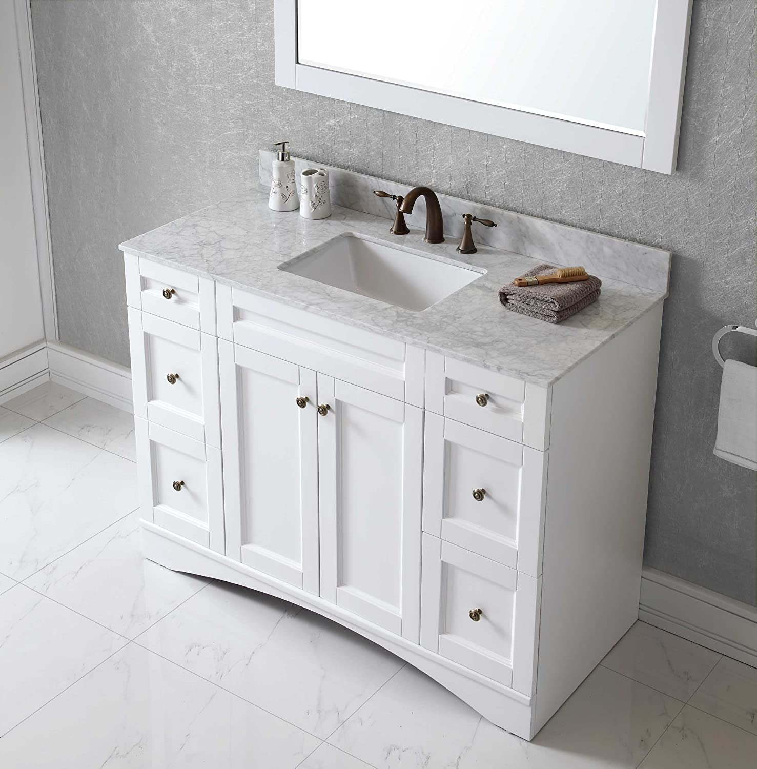 white bathroom vanities with marble tops. Virtu ES-32048-WMSQ-WH Elise Single Bathroom Vanity Cabinet Set, 48\ White Vanities With Marble Tops