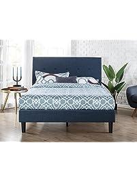 zinus upholstered navy button detailed platform bed wood slat support queen