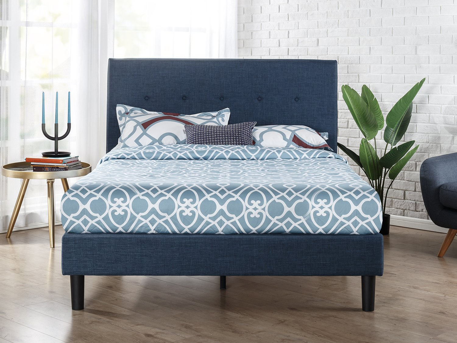Zinus Omkaram Upholstered Navy Button Detailed Platform Bed / Mattress Foundation / Easy Assembly / Strong Wood Slat Support, King - Classic styling with navy upholstery Headboard, frame, and wood slats included / Mattress sold separately Smartly packaged in one carton with the footboard, frame, legs, and wooden slats conveniently located in the zippered compartment in the back of the headboard for easy assembly - bedroom-furniture, bedroom, bed-frames - 81ByPZMUlCL -