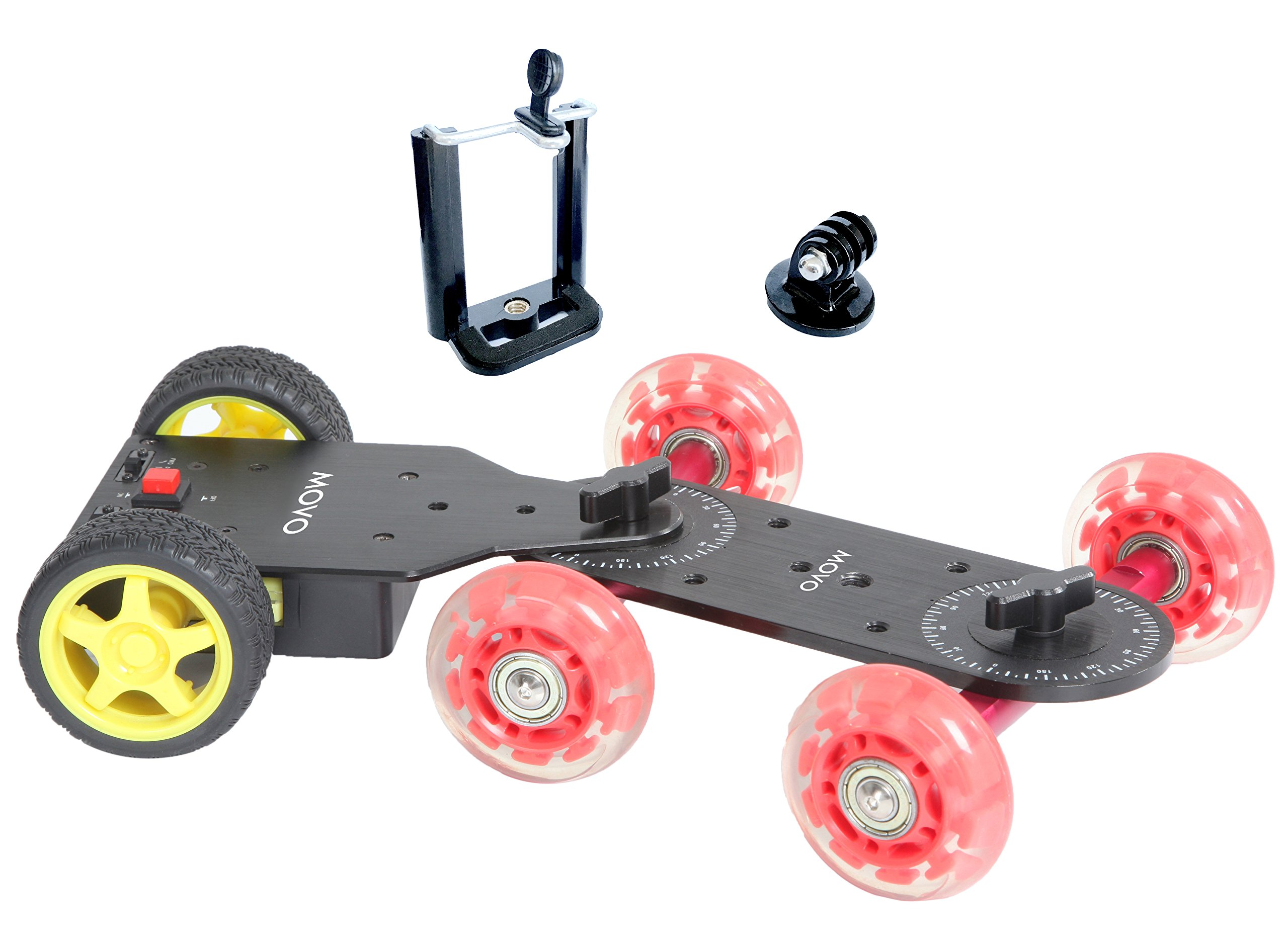 Movo Motorized Cine Skater Table Dolly Video Track Glider Bundle for DSLR Cameras, GoPro, iPhone, Android Smartphones (Short Version)