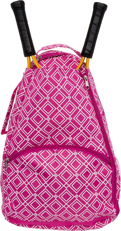 LISH Advantage Tennis Racket Backpack - Women's Geometric Diamond Print Tennis Racquet Holder Bag (Grey): Clothing