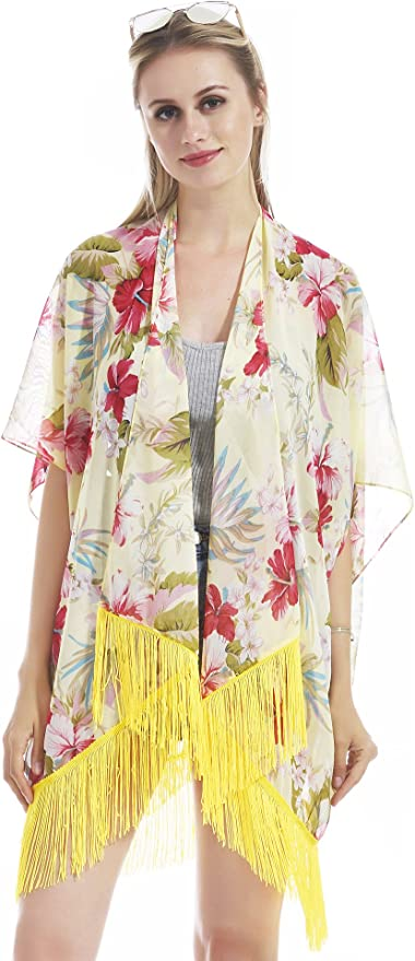 Mapale Vintage Floral Kimono Cover-up Floral Cover-up