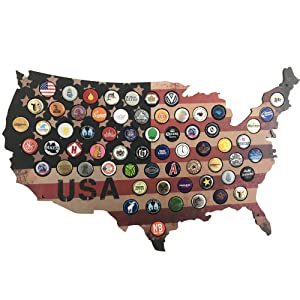 Woofdog USA Beer Cap Map. Rustic Stars and Stripes Design for Craft Beer Collectors. Display Your Growler and Craft Beer Caps in This Unique Piece of Man Cave Decor.