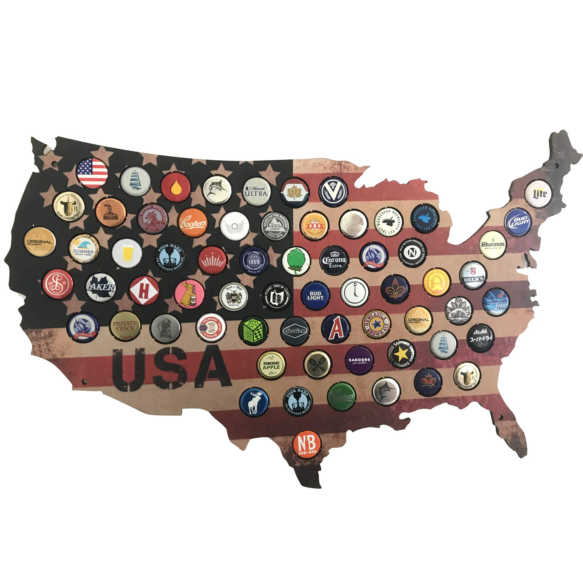 Beer Gifts For Men-USA Beer Cap Map (Stars & Stripes) for Craft Beer Collectors-Great Craft Beer Gifts For Father's Day