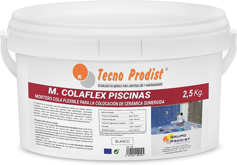M-COLAFLEX PISCINAS de Tecno Prodist – (2,5 kg) Adhesivo cementoso mejorado flexible ideal para la colocación de baldosas en contacto permanente con agua como piscinas, depósitos agua, etc