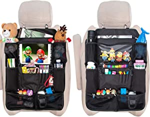 GEX Car Backseat Organizers Back Seat Non-deformation Protectors Touch Screen Tablet Holder+12 Storage Pockets for Kids' Toy Bottle Drink Organization Travel Accessories(2 Pack)