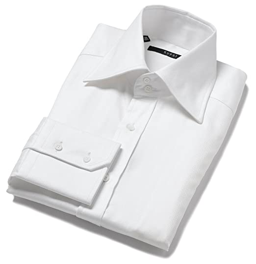 458bde03c Gucci Men's Spread Collar Dress Shirt, White, Size: 42: Amazon.in ...