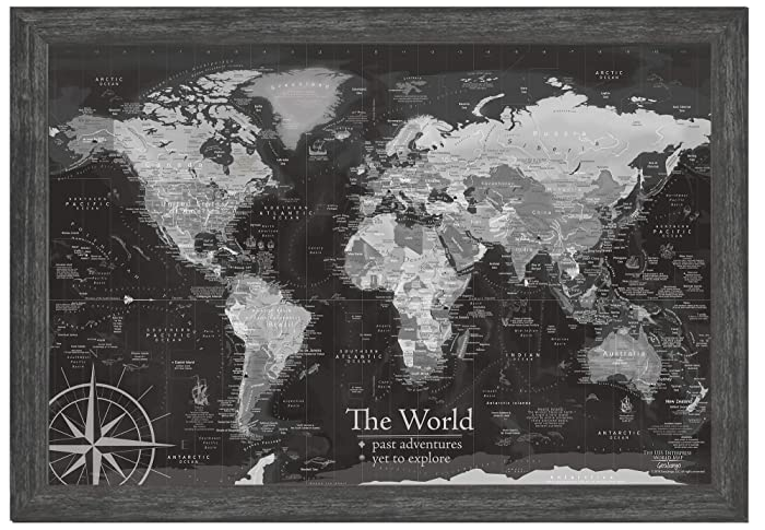 Black And White World Map Framed.Amazon Com World Map Push Pin Framed Black And White Use As A