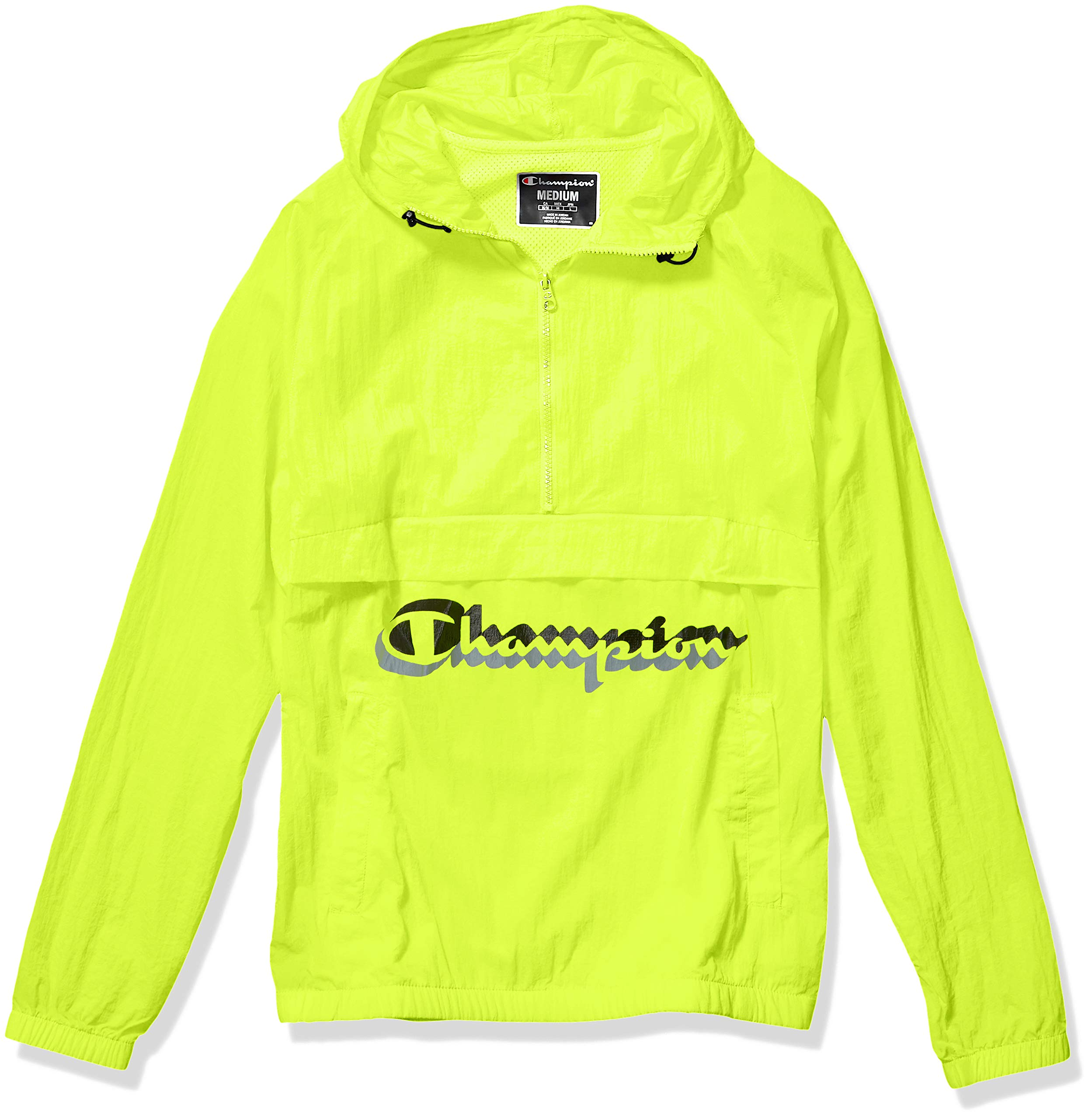 Champion LIFE Men's Anorak Windbreaker, neon Light w/Shadow Script, Small by Champion LIFE
