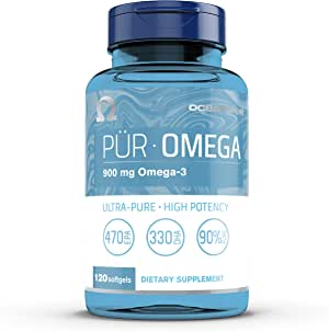 Oceanblue Omega 3, Ultra Pure Fish Oil, Supports Heart and Joint Health, High Potency 470 EPA, 330 DHA, 900mg, 120 Softgels