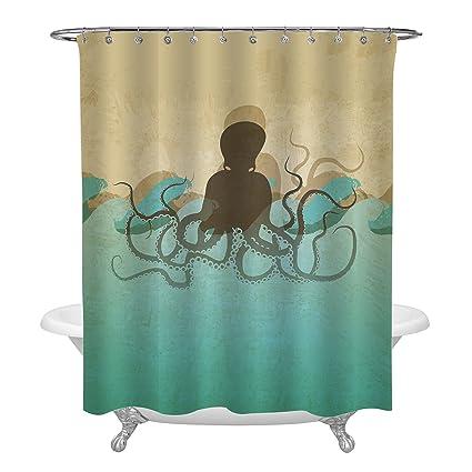 MitoVilla Ocean Life Octopus Decorations For Bathroom Bathtub Stalls Antique Marine Background Shower Curtain Set