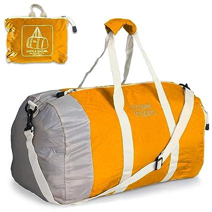 travel inspira - Bolsa de deportes (ligera, plegable, lona) Equipaje de viaje plegable bolsa de lona ligera para Deportes, Gimnasio, vacaciones y ...