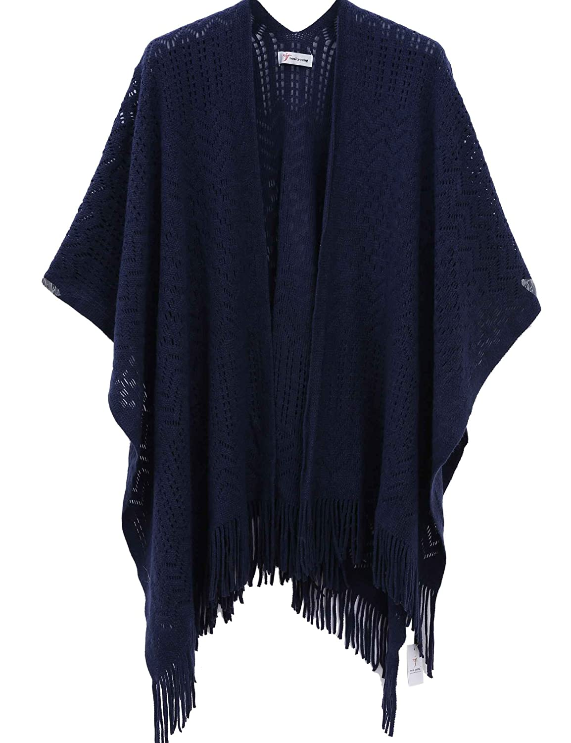 13793a88e1ef1e Knit Shawl Wrap for Women - Soul Young Ladies Fringe Knitted Poncho Blanket  Cardigan Cape(One Size