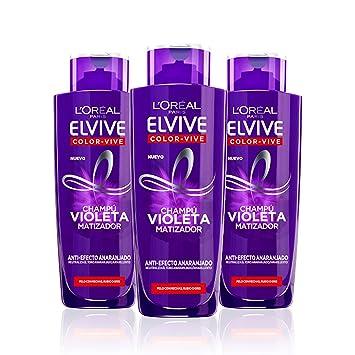 LOréal Paris Elvive Color Vive Champú Violeta Matizador para el Pelo con Mechas, Rubio, Decolorado o Gris - Paquete de 3 x 200 ml - Total: 600 ml