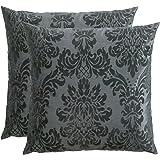 OPUS, fodera per cuscino, 60 x 60 cm, in velluto, stampa floccata, set da 2 pezzi, Microfibra, Grau, 60 x 60 cm