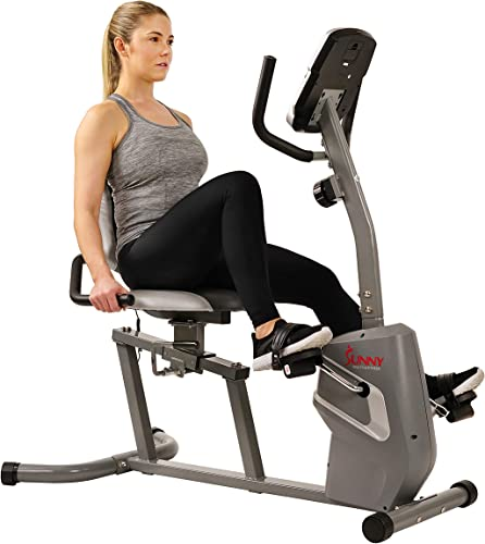 Sunny Health Fitness Magnetic Recumbent Bike Exercise Bike with Easy Adjustable Seat, Tablet Holder, RPM and Pulse Rate Monitoring – SF-RB4806