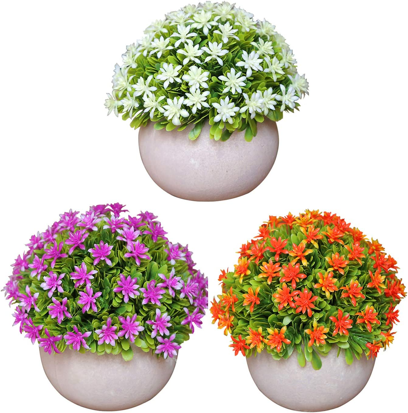 ZWCIBN 3 Pcs Mini Potted Plants, Small Fake Succulents, Modern Artificial House Plants & Flowers for Bathroom Bedroom Decor Indoor, Kitchen Decorations Above Cabinets Desk Decorations (White)