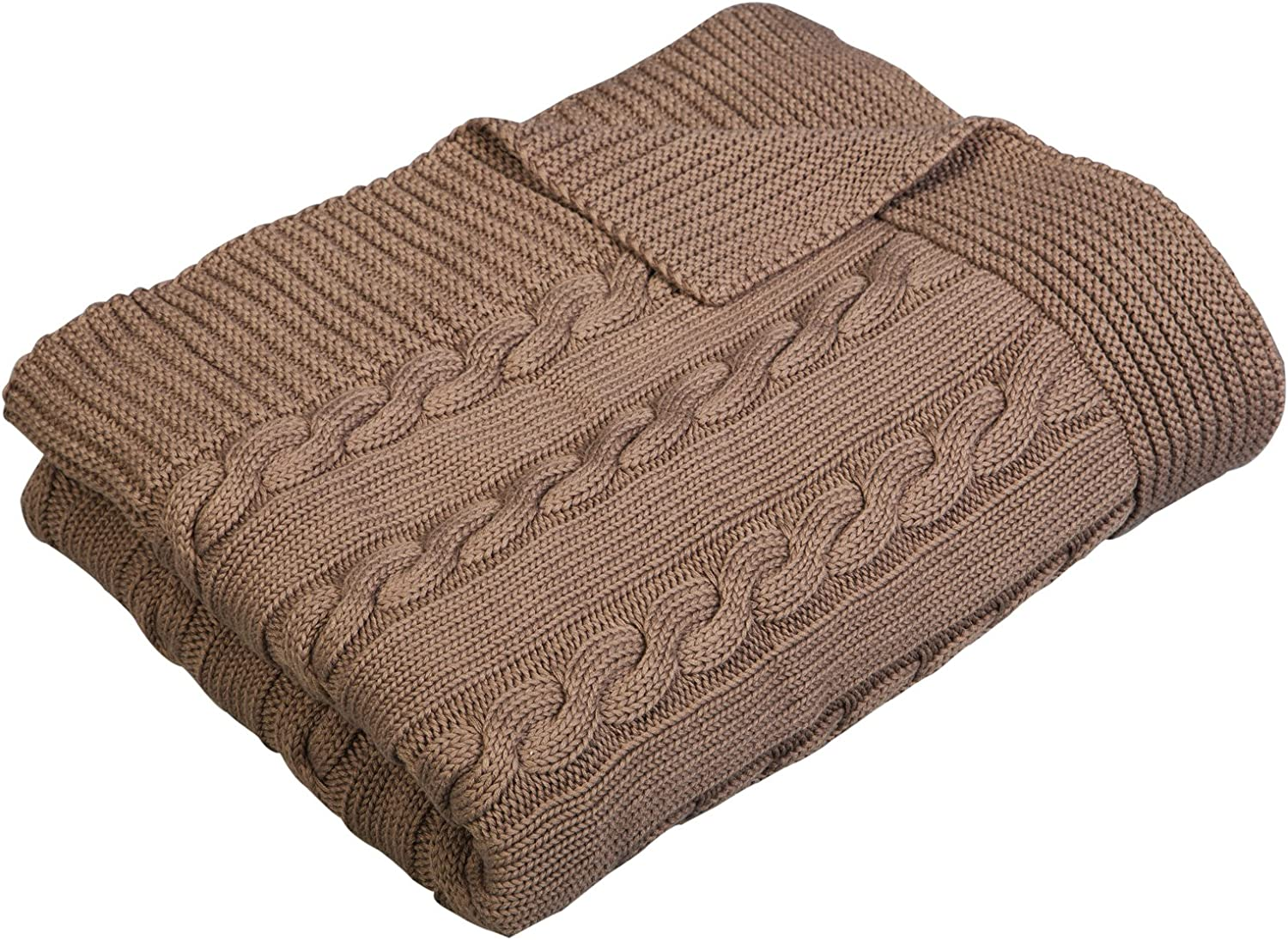 Arus Luxury Cotton Cable Knit Throw Blanket, Chocolate