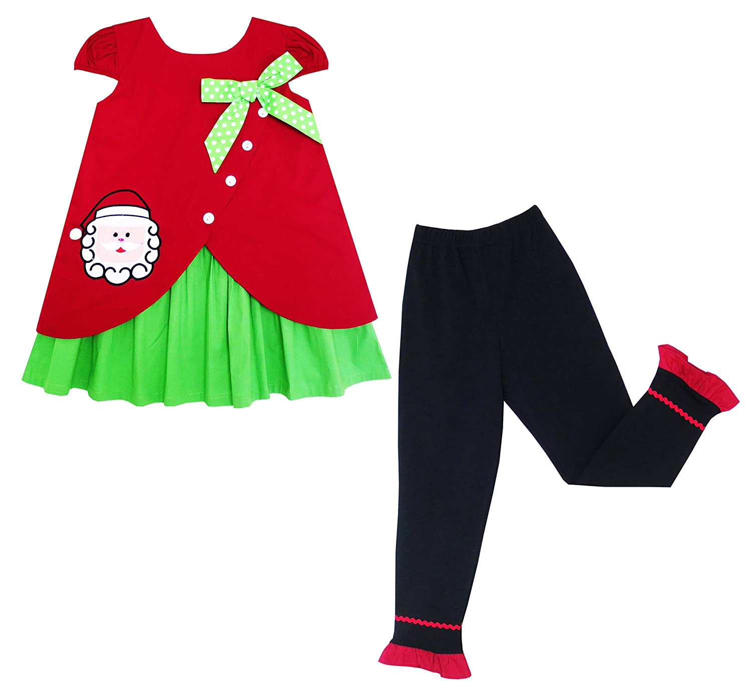 Sunny Fashion Girls Outfit Set Christmas Santa Embroidered Pants $ Size 2-6