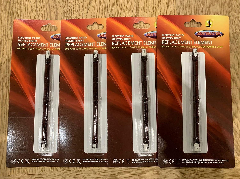 Heatmaster Electric Heater-Light Replacement Element 800W Ruby Long Life Quartz Lamp