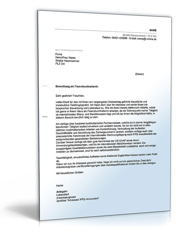 Anschreiben Bewerbung Finanzbuchhaltung Word Dokument Download