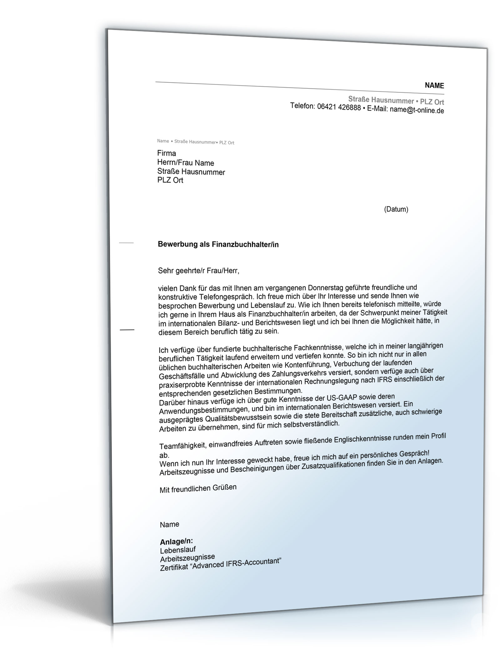 Anschreiben Bewerbung Finanzbuchhaltung [Word Dokument] [Download]:  Amazon.de: Software