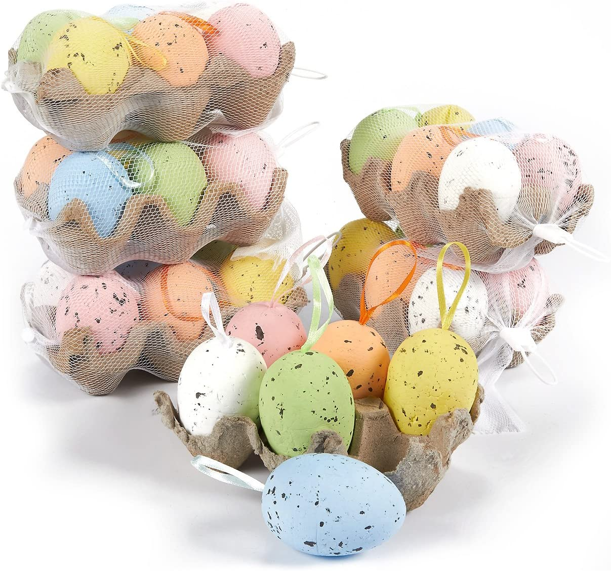 Easter Egg Ornaments in 6 Colorful Metallic Gold Designs (36 Pack)
