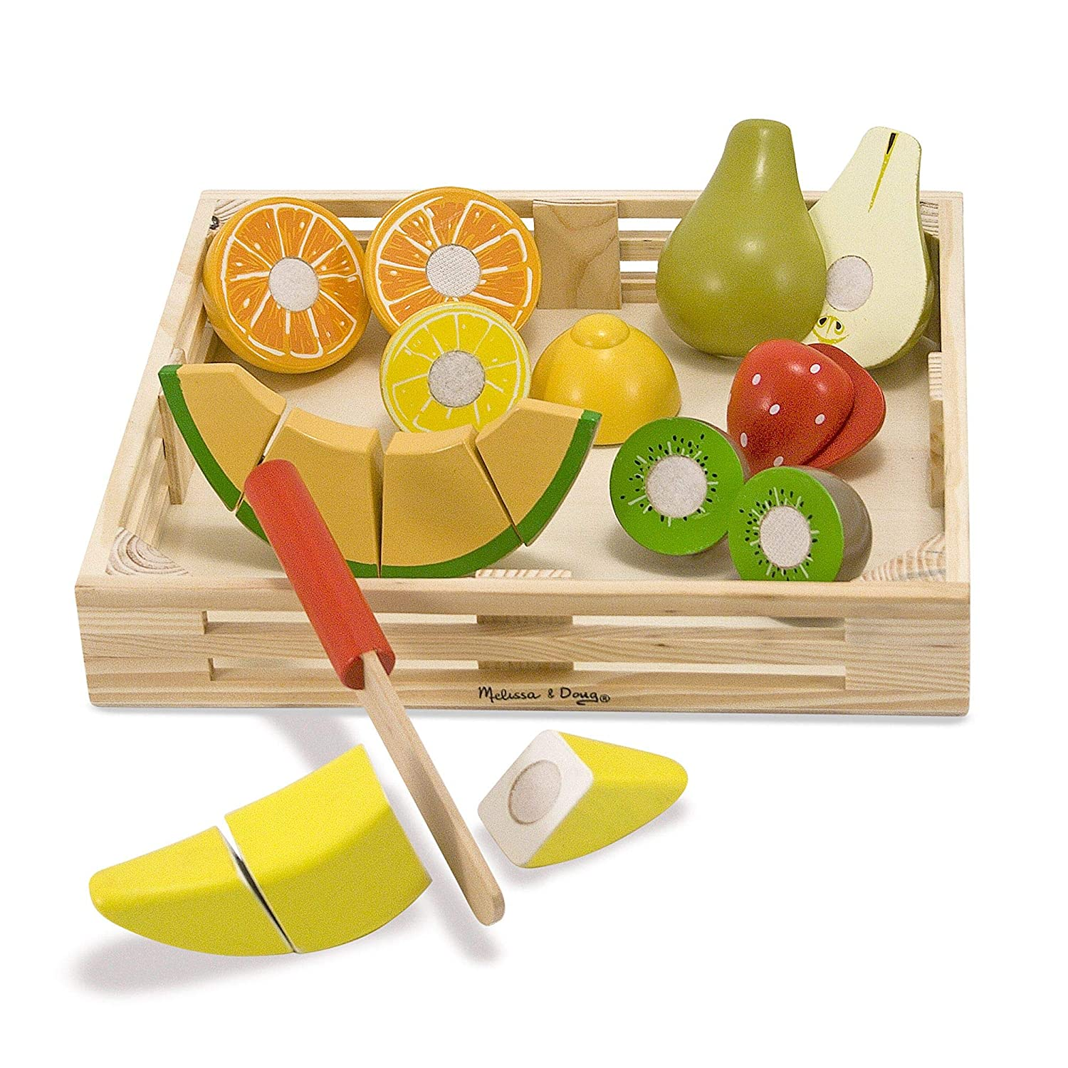 Melissa & Doug Cutting Fruit Set, Wooden Play Food, Attractive Wooden Crate, Introduces Part and Whole Concepts, 17-Piece Set, 2.75″ H × 9″ W × 9″ L